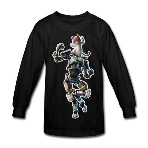 Kit Fortnite Kid's Long Sleeve Video Game T-Shirt - black