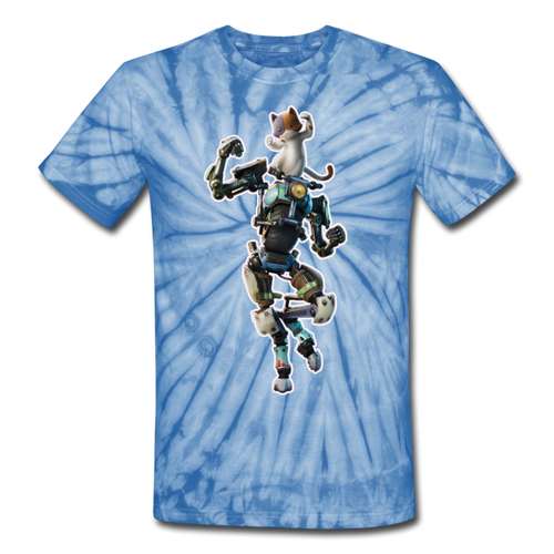 Kit Fortnite Tie Dyenomite Video Game T-Shirt - spider baby blue