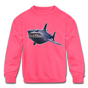 Loot Shark Fortnite Kid's Crewneck Video Game Sweatshirt - neon pink