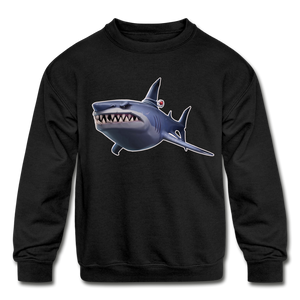 Loot Shark Fortnite Kid's Crewneck Video Game Sweatshirt - black
