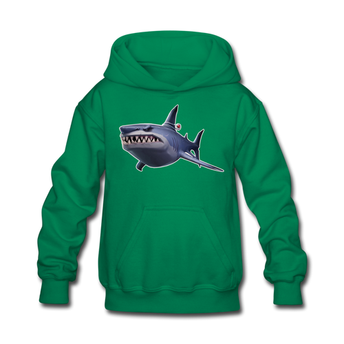Loot Shark Fortnite Kid's Hoodie Video Game Sweatshirt - kelly green