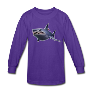 Loot Shark Fortnite Kid's Long Sleeve Video Game T-Shirt - dark purple