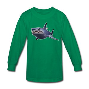 Loot Shark Fortnite Kid's Long Sleeve Video Game T-Shirt - kelly green