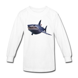 Loot Shark Fortnite Kid's Long Sleeve Video Game T-Shirt - white