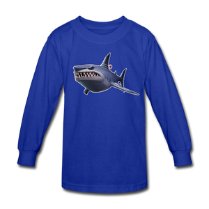 Loot Shark Fortnite Kid's Long Sleeve Video Game T-Shirt - royal blue