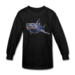 Loot Shark Fortnite Kid's Long Sleeve Video Game T-Shirt - black