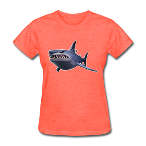 Loot Shark Fortnite Women's Video Game T-Shirt - heather coral