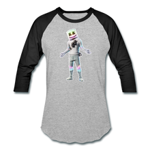 Load image into Gallery viewer, Marshmello Unisex Baseball Fortnite Video Game T-Shirt - heather gray/black