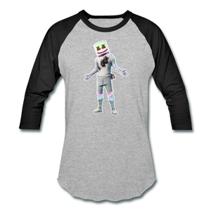 Marshmello Unisex Baseball Fortnite Video Game T-Shirt - heather gray/black