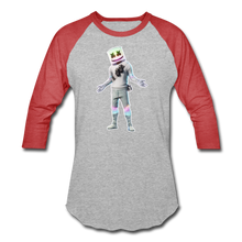 Load image into Gallery viewer, Marshmello Unisex Baseball Fortnite Video Game T-Shirt - heather gray/red