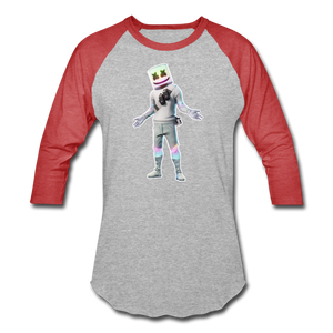 Marshmello Unisex Baseball Fortnite Video Game T-Shirt - heather gray/red