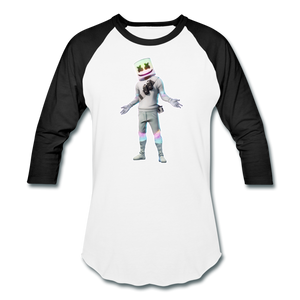 Marshmello Unisex Baseball Fortnite Video Game T-Shirt - white/black