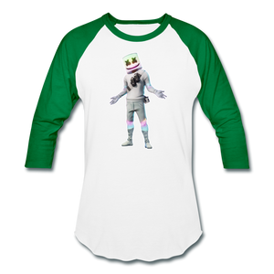Marshmello Unisex Baseball Fortnite Video Game T-Shirt - white/kelly green