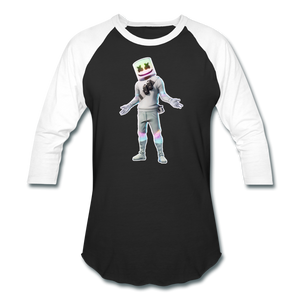 Marshmello Unisex Baseball Fortnite Video Game T-Shirt - black/white