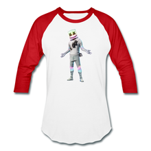 Load image into Gallery viewer, Marshmello Unisex Baseball Fortnite Video Game T-Shirt - white/red