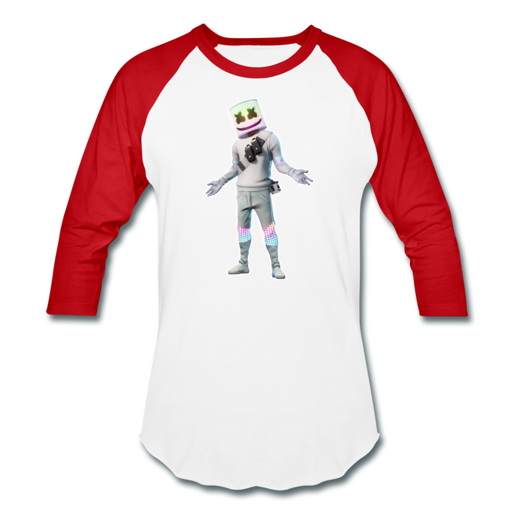 Marshmello Unisex Baseball Fortnite Video Game T-Shirt - white/red