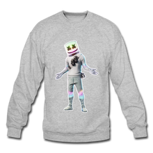 Load image into Gallery viewer, Marshmello Unisex Crewneck Fortnite Video Game Sweatshirt - heather gray