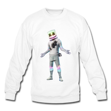 Load image into Gallery viewer, Marshmello Unisex Crewneck Fortnite Video Game Sweatshirt - white
