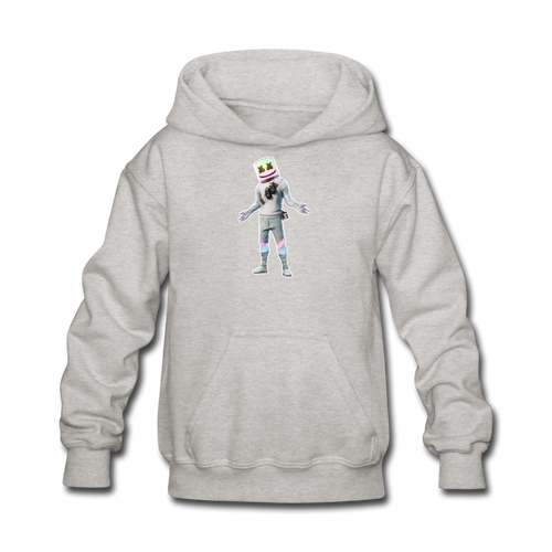 Marshmello Kids' Hoodie Fortnite Video Game Sweatshirt - heather gray