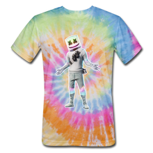 Load image into Gallery viewer, Marshmello Unisex Tie Dyenomite Fortnite Video Game T-Shirt - rainbow