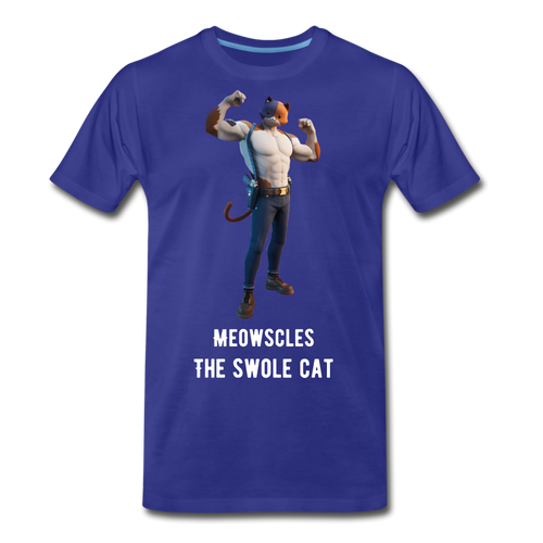 Meowscles the Swole Cat Blue Tee - royal blue