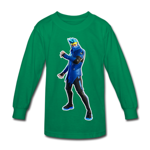 Ninja Fortnite Kid's Long Sleeve Video Game T-Shirt - kelly green