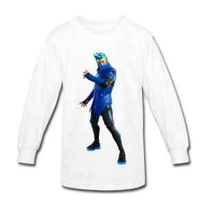 Ninja Fortnite Kid's Long Sleeve Video Game T-Shirt - white