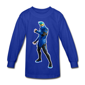 Ninja Fortnite Kid's Long Sleeve Video Game T-Shirt - royal blue