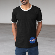 Load image into Gallery viewer, Champion Brand NASA Meatball Logo Black Ringer T-Shirt