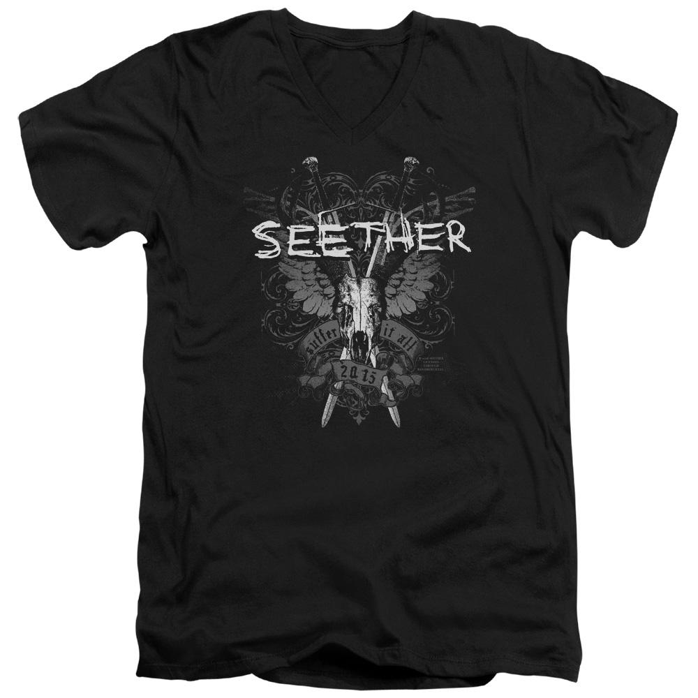 Seether Suffer V Neck Band T-Shirt