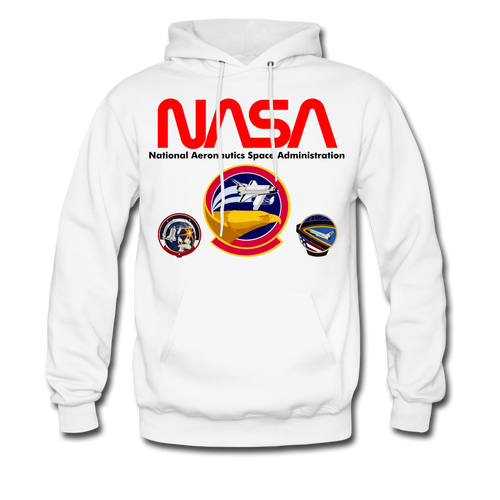 NASA Shuttle Flight Patches Hoodie - white