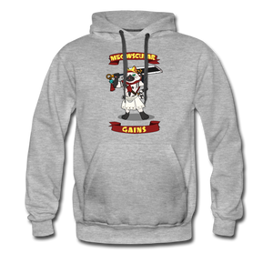 Meowscular Gains Cat Grey Hoodie - heather gray