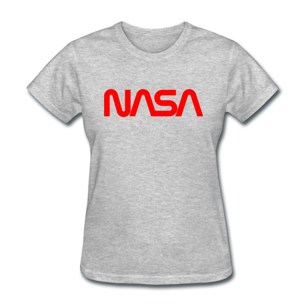 NASA Insignia Worm Logo Women's Grey Tee - heather gray