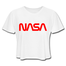 Load image into Gallery viewer, NASA Insignia Worm Logo Women's Cropped Tee - white