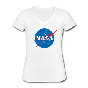 NASA Insignia Meatball Logo Women's V-neck Tee - white