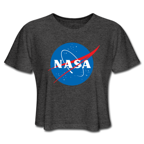 NASA Insignia Meatball Logo Women's Dark Grey Tee - deep heather