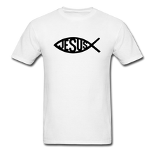 Load image into Gallery viewer, Jesus Fish Tee Bright - white