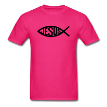 Load image into Gallery viewer, Jesus Fish Tee Bright - fuchsia