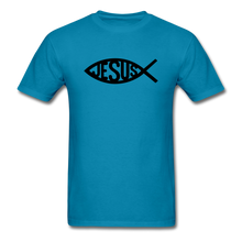 Load image into Gallery viewer, Jesus Fish Tee Bright - turquoise