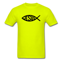 Load image into Gallery viewer, Jesus Fish Tee Bright - safety green