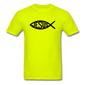 Jesus Fish Tee Bright - safety green