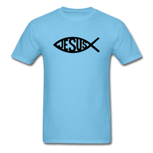 Load image into Gallery viewer, Jesus Fish Tee Bright - aquatic blue
