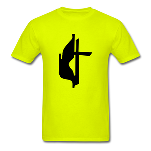 Methodist Cross Tee Bright - safety green