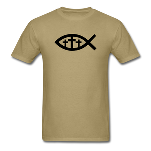 Three Crosses Tee Bright - khaki