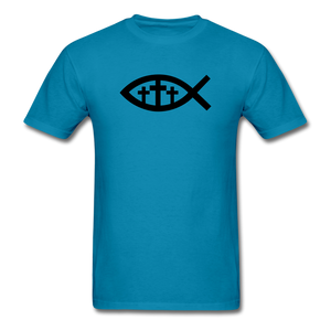 Three Crosses Tee Bright - turquoise