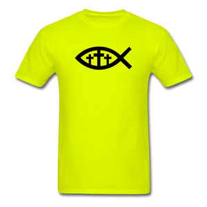 Three Crosses Tee Bright - safety green