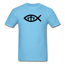 Load image into Gallery viewer, Three Crosses Tee Bright - aquatic blue