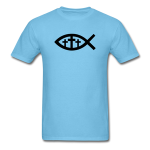 Three Crosses Tee Bright - aquatic blue