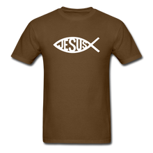 Load image into Gallery viewer, Jesus Fish Tee Dark - brown