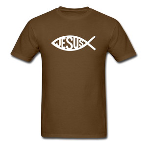Jesus Fish Tee Dark - brown
